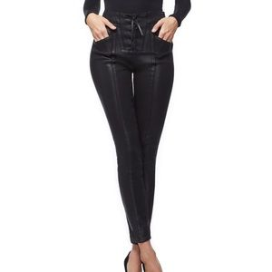 Good American Good waist Waxed Lace up Skinny